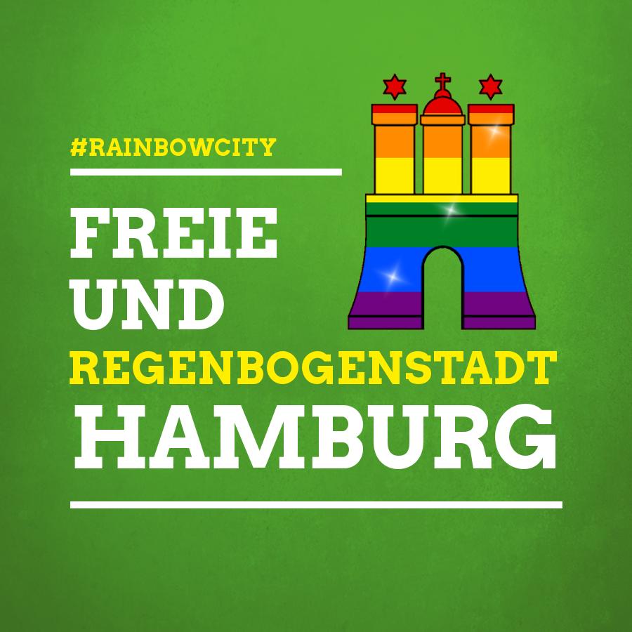 """Text: """"Freie und Regenbogenstadt Hamburg"""" auf grünem Hintergrund"""